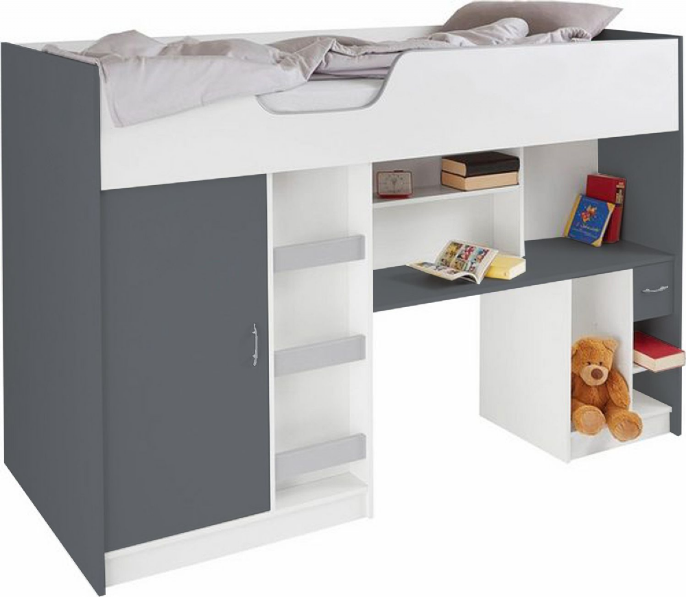 Lifestyle Children's High Sleeper, cabin bed, Grey/White
